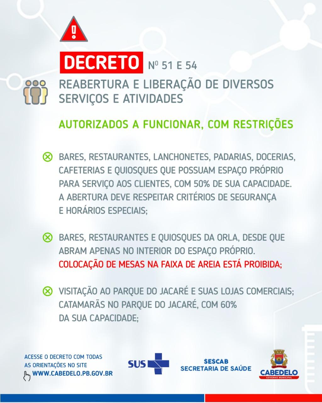 Em novos decretos, Prefeitura de Cabedelo libera, com restrições, funcionamento de bares, quiosques, restaurantes, Praças de Alimentação e academias de ginástica