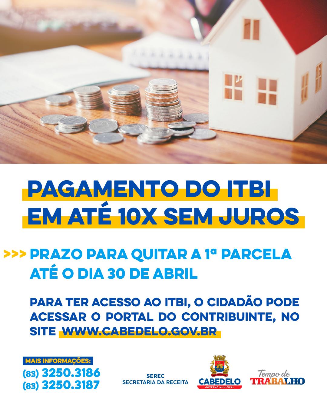 Prefeitura de Cabedelo facilita pagamento do ITBI em até 10 parcelas, sem juros