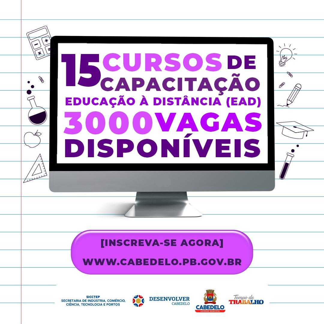 Prefeitura de Cabedelo abre 3.000 vagas gratuitas para 15 cursos on-line de capacitação profissional