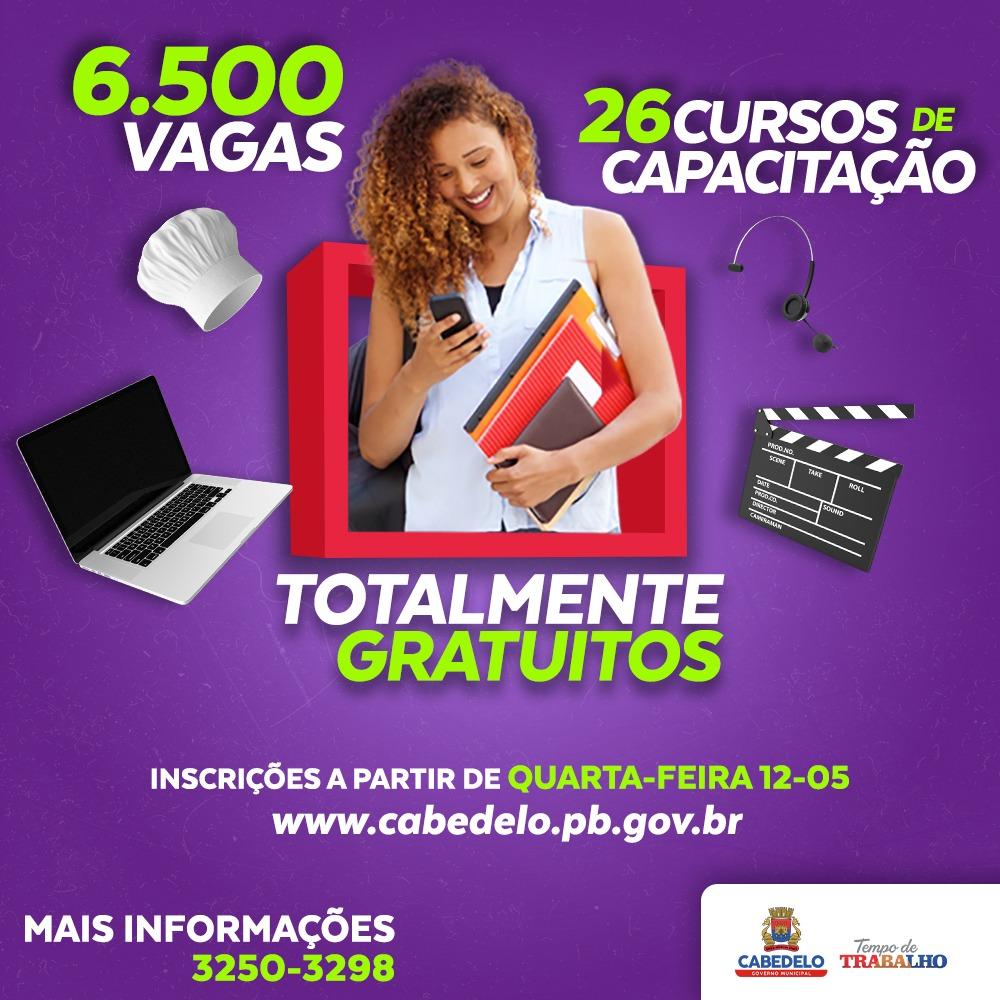 Prefeitura de Cabedelo abre 6.500 vagas para 26cursos online de capacitação profissional