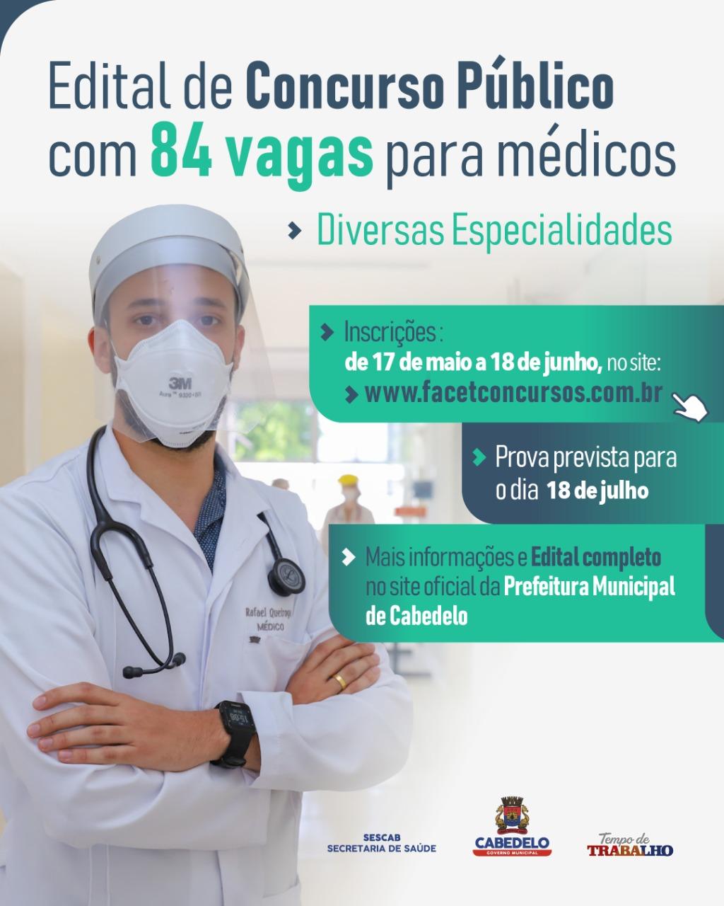 Prefeitura de Cabedelo lança edital de Concurso Público com 84 vagas para médicos