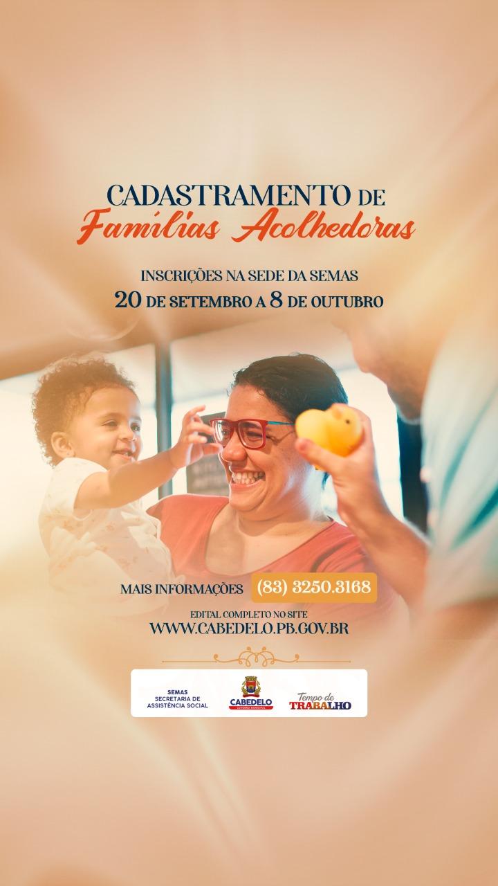 Prefeitura de Cabedelo abre inscrições para cadastramento de famílias acolhedoras